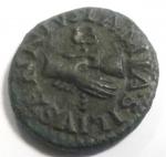 reverse: Impero Romano.Augusto.27 a.C-14 d.C.Quadrante. Ae. D/LAMIA SILIVS ANNIVSDue mani giunte con caduceo. R/ AAA F F IIIVIR intorno a grande SC. RIC 420. Peso gr. 3,20. Diametro mm 16.SPL.Patina verde.