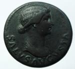 obverse: Impero Romano. Livia. (Tiberio, 14-37). Dupondio. Ae. Roma, 21-22 d.C. D\ SALVS AVGVSTA, Busto drappeggiato di Livia-Salus a destra, capelli annodati dietro la nuca, R\ TI CAESAR DIVI AVG F AVG P M TR POT XXIIII, intorno ad S C. RIC 47; C 5. Peso 14,80 gr. Diametro 25,00 mm. BB+. Ritratto raffinato, patina.