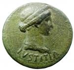 obverse: Impero Romano. Livia. Tiberio. 14-37 d.C. Roma. 21-22 d.C. Dupondio; AE. D/ IVSTITIA, Busto drappeggiato e diademato di Livia-Iustitia a destra. R/ TI CAESAR DIVI AVG F AVG P M TR POT XXIIII, intorno ad S C. RIC 46; C 4. Peso gr. 13,85. Diametro mm. 28,8. Buon BB+\SPL. Patina verde scuro. §
