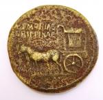 reverse: Impero Romano. Agrippina madre, figlia di Agrippa, moglie di Germanico (deceduta nel 33 d.C.). Sesterzio. Ae. D/ AGRIPPINA M.F. MAT.C.CAESARIS AVGVSTI. Busto drappeggiato a destra. R/ SPQR MEMORIAE AGRIPPINAE. Carpentum trainato da due mule a sinistra. RIC (Cal.)55. Peso gr. 27,62. Diametro mm. 33,00. qBB. R. °°