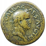 obverse: Impero Romano. Galba. 68-69 d.C. Sesterzio. AE. D/ SER GALBA IMP CAES AVG TR P. Testa laureata a destra. R/ AVGVSTA SC. Livia seduta in trono. RIC -, cf. 432 (diff. obv. legend); BMC. Peso gr. 25.90. Diametro mm. 36.00. Bel BB+. ex Kuenker. R.
