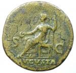 reverse: Impero Romano. Galba. 68-69 d.C. Sesterzio. AE. D/ SER GALBA IMP CAES AVG TR P. Testa laureata a destra. R/ AVGVSTA SC. Livia seduta in trono. RIC -, cf. 432 (diff. obv. legend); BMC. Peso gr. 25.90. Diametro mm. 36.00. Bel BB+. ex Kuenker. R.