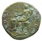 reverse: Impero Romano.Vespasiano (69-79), Dupondio. Roma, 73 d.C. AE D\ IMP CAES VESP AVG P M T P COS IIII CENS, testa radiata a destra R\ CONCORDIA - AVGVSTI, Concordia seduta verso sinistra , tiene patera e cornucopia; in ex. S C. RIC I 538 = II 579; C 73. Peso 13,51 gr.Diametro 27,00 mm.BB+