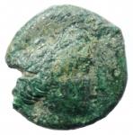 obverse: Mondo Greco. Bruttium. Crotone. II sec. a.C. Bronzo. D/ Testa di Persefone verso destra. R/ Tre crescenti KPO. Sear 652. Peso 5,40 gr. Diametro 16,00 mm. BB+. Patina Verde. R.