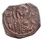 obverse: Zecche Italiane -Bari.Ruggero II (1105-1154).Follaro, con la Madonna orante.B. 308.AE.g. 0,71.RR.BB+.