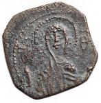 obverse: Zecche Italiane -Bari.Ruggero II (1105-1154).Follaro, con la Madonna orante.B. 308.AE.g. 0,91.RR.BB++.