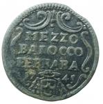 reverse: Zecche Italiane. Ferrara. Benedetto XIV. 1740-1758. Mezzo baiocco 1745. AE. M.281. Peso gr. 4.70. qSPL.