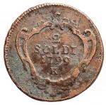 obverse: Zecche Italiane - Gorizia. Francesco II d Asburgo Lorena.2 soldi 1799. Zecca di Kremnitz. Peso 5,85 gr. Diametro 23 mm. BB.§