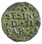 reverse: Zecche Italiane. Parma. Antonio Farnese. 1727-1731. Sesino. AE. MIR 1054. Peso gr. 1.02. BB. RR. *