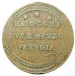reverse: Zecche Italiane. Perugia. Pio VI. 1775-1799. Sampietrino 1796 da 2 baiocchi e mezzo. AE. Bel BB+.