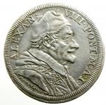 obverse: Zecche Italiane. Roma. Alessandro VIII. 1689-1691. Testone 1690. Ag. M. 16. Berm. 2176. CNI 27. Peso gr. 9.07. qSPL/SPL.