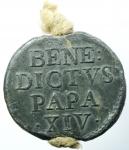 reverse: Zecche Italiane. Roma. Benedetto XIV. Prospero Lambertini. 1740-1758. Bolla. PB. Ser. 1471. Peso 61,00 gr. SPL.