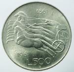 reverse: Repubblica Italiana.500 lire 1961 AG.SPL.§