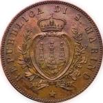 reverse: San Marino.Antica Monetazione. 5 Centesimi 1869M. FDC. Ottimo Esemplare. R. rf