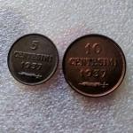 obverse: San Marino.Antica Monetazione. Coppia da 5 e 10 centesimi 1937. FDC. Il 10 centesimi è eccezionale rame rosso. rf