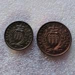 reverse: San Marino.Antica Monetazione. Coppia da 5 e 10 centesimi 1937. FDC. Il 10 centesimi è eccezionale rame rosso. rf