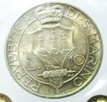 reverse: Zecche Italiane. San Marino.Antica Monetazione. 10 Lire 1935. Gig. 13. qFDC.Periziata