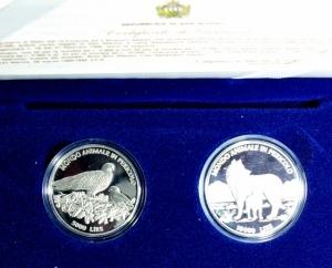 obverse: San Marino. Dittico 5000 Lire + 10.000 Lire 1996. Ag. Animali in pericolo. Proof. Confezione Originale Zecca.