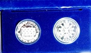 obverse: San Marino. Dittico 5000 Lire + 10.000 Lire 1999. Ag. L Europa del domani. Proof. Confezione Originale Zecca.