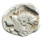 obverse: Mondo Greco. Misia. Cizico. 480-450 a.C. Obolo. Ag. D/ Cinghiale a sinitra, a destra tonno. R/ Testa di leone in quadrato incuso. Sear 3846. Peso 0,81 gr. Diametro 8,00 mm. BB.w