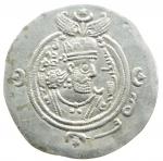 obverse: Mondo Greco. Oriente Antico. Regno Sassanide. Khosrow II. 590-628 d.C.Dracma. Ag. D/ Busto a destra. R/ Il Re e un sacerdote ai lati di colonna sacra. Cfr. Gobl II/3, 212. Peso gr. 4.1.Bel qSPL.w