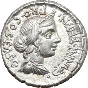 C. Annius with L. Fabius L. f. Hispaniensis.  AR Denarius, 82-81 BC. Obv. C. ANNI. T.F.T.N. PRO. COS. EX. SC. Diademed and draped bust of Anna Perenna right. Rev. Victoria in galloping quadriga right; above, Q; below horses, D; in exergue, L. FABI. L.F. HISP. Cr. 366/2b. B.3. AR. g. 3.79  mm. 19.50   An outstanding example, unusually large and complete. Exceptional and virtually as struck. About FDC.