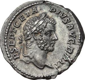 Geta (209-212).  AR Denarius, 211 AD. Obv. P SEPT GETA PIVS AVG BRIT. Laureate head right. Rev. FORT RED TR P III COS II. Fortuna seated left, holding rudder and cornucopiae; below seat, wheel. RIC 75. C. 51. AR. g. 3.34  mm. 19.00   A superb example. Beautiful dark old cabinet toning, with iridescent hues. EF.