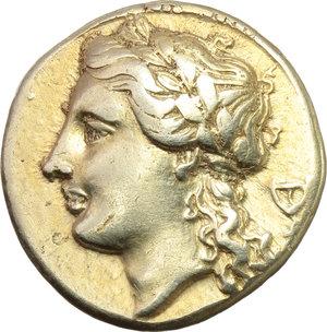 Sicily. Syracuse. Agathokles (317-289 BC).  EL 50 Litrai, c. 310-306 BC. Obv. Laureate head of Apollo left; behind, kantharos. Rev. ΣYPAK-OΣIΩN. Tripod. SNG ANS 623-5. BMC 258. EL. g. 3.59  mm. 15.00  R. A very nice example. Good VF.