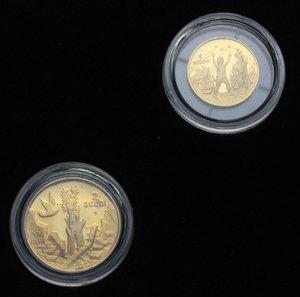 San Marino.  1 e 2 scudi 1991.     AU. g. 9.60    In confezione originale. FDC.