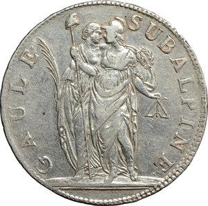 Torino. Repubblica Subalpina (1800-1802). 5 franchi 1802 A. 10.    Pag. 6. AG.    R.  Bel BB+.