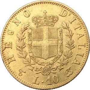 Regno di Italia. Vittorio Emanuele II (1861-1878), Re d Italia. 10 lire 1865.    Pag.478  Mont.158. AU.    R.  BB+/qSPL.