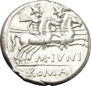 C. Iunius C.f.  AR Denarius, 149 BC. Obv. Helmeted head of Roma right, behind, X. Rev. The Dioscuri galloping right; below horses, C. IVNI. C.F; in exergue, ROMA. Cr. 210/1. B.1. AR. g. 4.06  mm. 18.00   Full weight. Brilliant and superb. EF.