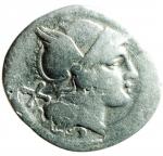 D/ Repubblica Romana. Dopo il 211 a.C. Denario anonimo. Ag. D/ Testa di Roma verso destra, dietro X. R/ I dioscuri a cavallo verso destra, in esergo ROMA. Cr.53/2. Peso 3,65 gr. Diametro 19,00 mm. MB+..§