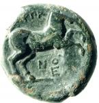 R/ Mondo Greco. Apulia. Arpi. 275-250 a.C. Bronzo. D/ Toro verso sinistra. R/ Cavallo al galoppo verso destra. SNG ANS 645. Peso 7,17 gr. Diametro 19,55 mm. BB.