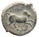 R/ Mondo Greco - Apulia. Arpi. 275-250 a.C.Ae. D/ Toro andante verso destra. R/ Cavallo rampante verso destra. SNG ANS 640-645. Peso 9,03 gr. Diametro 21,74 mm.BB/BB++. Bell'esemplare.