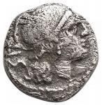 D/ Repubblica Romana -Serie anonima.ca. 208 a.C.Sesterzio.Ag.D/ Testa di Roma a destra.R/ I Dioscuri al galoppo a destra.Cr. 44/7.Pesogr. 0,79.Diametromm 10,49.MB-qBB.
