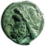 D/ Mondo Greco. Apulia. Arpi. ca. III sec. a.C. Ae. D/ Testa di Zeus verso sinistra, davanti ΔIAOY, dietro fulmine. R/ Cinghiale verso destra, sopra lancia, sotto APΠANΩN. SNG COP 603. Peso 7,85 gr. Diametro 19,50 mm. BB+.