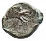 D/ Mondo Greco - Apulia. Arpi. ca325-275 a.C.AE.D/ Testa di Zeus a sinistra. R/ Mezzo cinghiale a destra, sopra lancia. Peso gr. 3,56. Diametro mm. 14,45 x 16,3.HN Italy 643.BB.