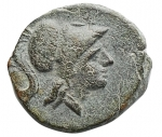 D/ Mondo Greco -Apulia. Arpi.III sec. a.C.Ae.D/ Testa di Athena con elmo corinzio a destra.R/ Grappolo d'uva.SNG ANS 646.Pesogr. 3,01. Diametromax 15,4 mm.BB++.Di buona qualità per il tipo.