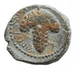 R/ Mondo Greco -Apulia. Arpi.III sec. a.C.Ae.D/ Testa di Athena con elmo corinzio a destra.R/ Grappolo d'uva.SNG ANS 646.Pesogr. 3,01. Diametromax 15,4 mm.BB++.Di buona qualità per il tipo.