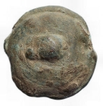 D/ Mondo Greco - Apulia. Luceria.214-212 a.C.Biunx.Ae. D/ Astragalo e due globi. R/ Conchigliadue globetti. Peso 55,3 gr. Diametro 32,6 mm.qBB.Intonsa. Patina verde.R.
