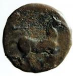 R/ Mondo Greco. Apulia. Salapia. ca. 225-210 a.C. AE. D/ Testa di Apollo a destra. Davanti ΣAΛAΠINΩN. R/ Cavallo a destra. Sopra un tridente. Sotto ΠYΛΛOY. HN (Italy) 692. Peso gr. 6,10. BB.