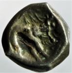 R/ Celti. Gallia Cisalpina. Insubri. Dracma a Imitazione Massaliota. D\ Testa di Artemide verso destra. R\ Lupo stilizzato verso destra. Peso gr. 2,40. Diametro mm. 13. BB