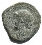 D/ Mondo Greco - Bruttium. Occupazione Cartaginese. ca 215-205 a.C. Ae. D/ Testa di Tanit a sinistra. R/ Testa di cavallo a destra, lettera punica. HN Italy 2022.Peso gr. 9,91. Diametro mm. 26. qBB.