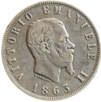 D/ Casa Savoia. Vittorio Emanuele II. 1861-1878. 2 lire 1863 Napoli. AG. Pag. 508. Mont. 198. MB+. NC. y
