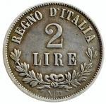 R/ Casa Savoia. Vittorio Emanuele II. 1861-1878. 2 lire 1863 Napoli. AG. Pag. 508. Mont. 198. MB+. NC. y