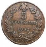 D/ Casa Savoia - Vittorio Emanuele II. 5 Centesimi 1862. Napoli. Ae. Pagani 554. BB-SPL.