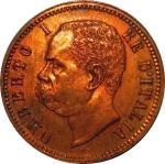 D/ Casa Savoia. Umberto I. 2 Centesimi 1895 R. FDC. Rame rosso. Periziata Esposito. R. rf10