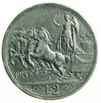 D/ Casa Savoia. Vittorio Emanuele III. 2 Lire 1915 Quadriga Briosa. Ag. Peso 10 gr. Diametro 27 mm. BB.