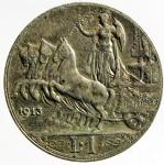 D/ Casa Savoia. Vittorio Emanuele III. 1 lira 1913 Quadriga veloce. MB+.